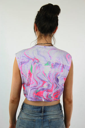 Jamaica shirt Vintage 1980s Pink Purple ombre tank top Abstract Tie Dye neon sleeveless graphic cropped tee Large - shabbybabe  - 4