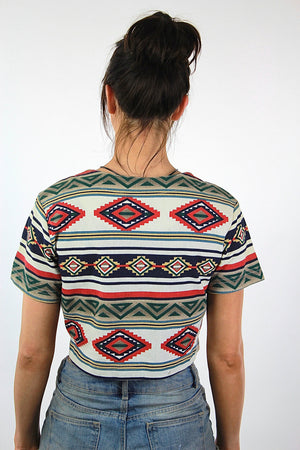 Tribal shirt Vintage 1980s Aztec crop top short sleeve lace up Southwestern Boho Red white Bohemian native top Small - shabbybabe  - 4