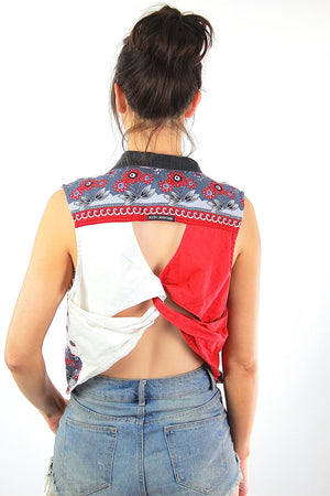 Boho patchwork open back sleeveless blouse crop top - shabbybabe  - 4