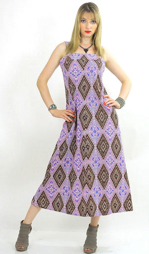 70s Purple psychedelic maxi dress boho hippie festival tent dress