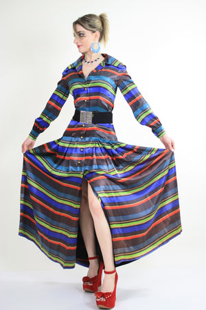 70s pleated party maxi dress cocktail party bold stripes - shabbybabe  - 1