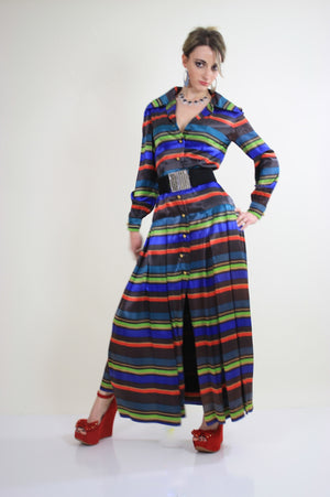 70s pleated party maxi dress cocktail party bold stripes - shabbybabe  - 3