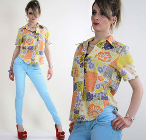 Vintage 60s top blouse button down neon patchwork - shabbybabe  - 2