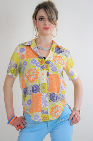 Vintage 60s top blouse button down neon patchwork - shabbybabe  - 1
