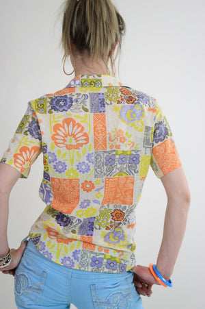 Vintage 60s top blouse button down neon patchwork - shabbybabe  - 3