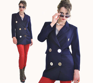 80s double breasted jacket blazer metal buttons navy blue - shabbybabe  - 3