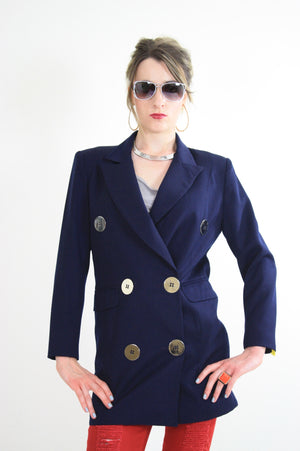 80s double breasted jacket blazer metal buttons navy blue - shabbybabe  - 5