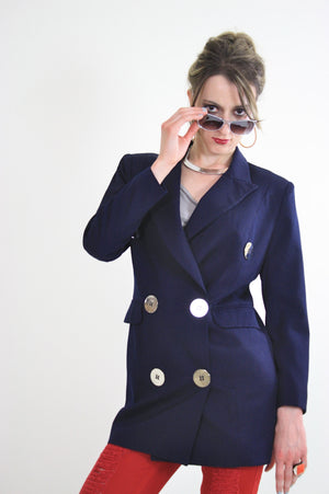 80s double breasted jacket blazer metal buttons navy blue - shabbybabe  - 1