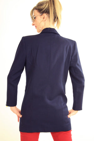 80s double breasted jacket blazer metal buttons navy blue - shabbybabe  - 6