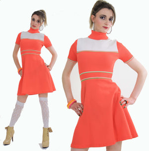 Vintage 60s Hippie neon orange mod mini dress - shabbybabe  - 3
