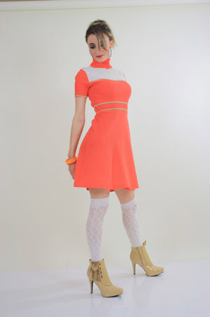 Vintage 60s Hippie neon orange mod mini dress - shabbybabe  - 2