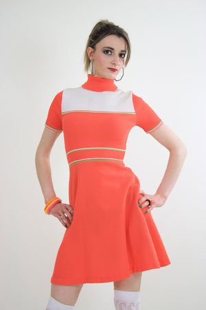 Vintage 60s Hippie neon orange mod mini dress - shabbybabe  - 1