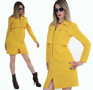 Vintage 60s mod yellow zipper mini dress - shabbybabe  - 3