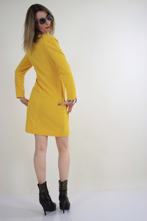 Vintage 60s mod yellow zipper mini dress - shabbybabe  - 4