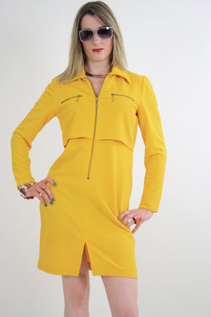 Vintage 60s mod yellow zipper mini dress - shabbybabe  - 5