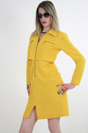 Vintage 60s mod yellow zipper mini dress - shabbybabe  - 1