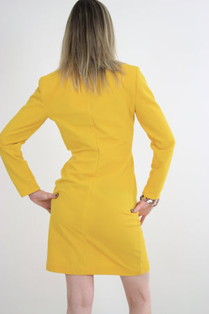 Vintage 60s mod yellow zipper mini dress - shabbybabe  - 6