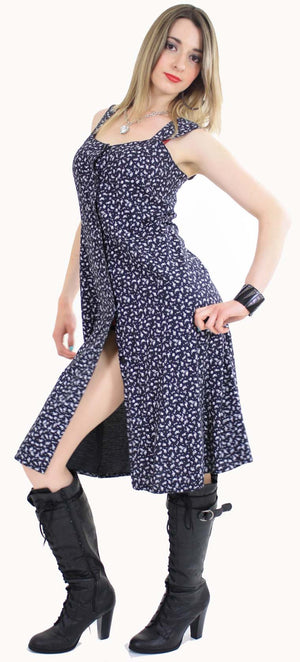 Vintage 90s grunge dress Navy mini floral sun dress - shabbybabe  - 2
