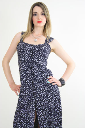 Vintage 90s grunge dress Navy mini floral sun dress - shabbybabe  - 1