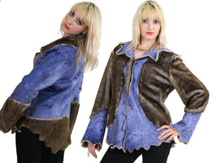 70s reversible jacket hippie boho faux fur faux leather - shabbybabe  - 2