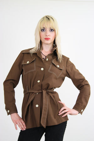 70s Brown safari jacket button up Boho - shabbybabe  - 1
