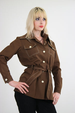70s Brown safari jacket button up Boho - shabbybabe  - 3