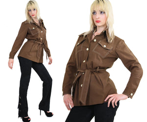 70s Brown safari jacket button up Boho - shabbybabe  - 2