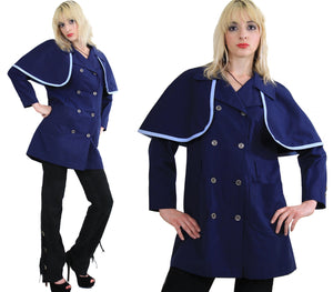 Vintage 60s Mod Navy Blue Double Breasted Capelet Coat - shabbybabe  - 5