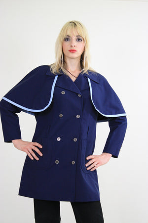 Vintage 60s Mod Navy Blue Double Breasted Capelet Coat - shabbybabe  - 3
