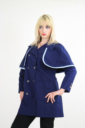 Vintage 60s Mod Navy Blue Double Breasted Capelet Coat - shabbybabe  - 1
