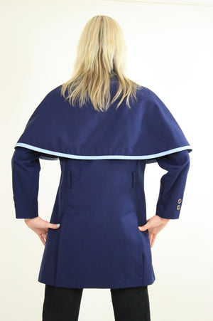 Vintage 60s Mod Navy Blue Double Breasted Capelet Coat - shabbybabe  - 4