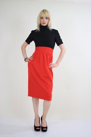 Vintage 80s Mod color block party cocktail dress - shabbybabe  - 2