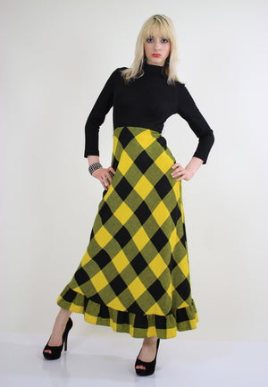 Vintage 70s boho buffalo plaid maxi dress - shabbybabe  - 3