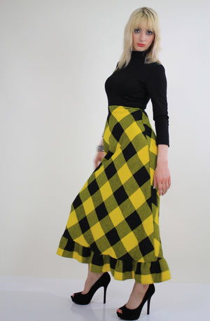 Vintage 70s boho buffalo plaid maxi dress - shabbybabe  - 1