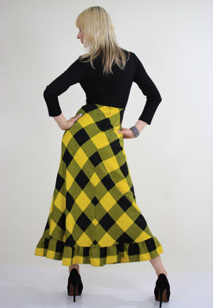 Vintage 70s boho buffalo plaid maxi dress - shabbybabe  - 5