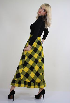 Vintage 70s boho buffalo plaid maxi dress - shabbybabe  - 6