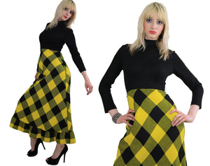 Vintage 70s boho buffalo plaid maxi dress - shabbybabe  - 4