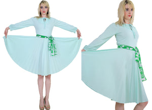 Vintage 70s Boho sheer green pastel pleated dress - shabbybabe  - 3