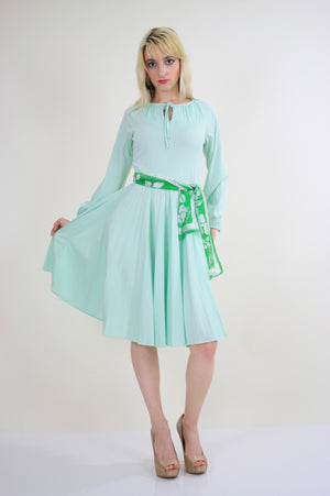 Vintage 70s Boho sheer green pastel pleated dress - shabbybabe  - 2