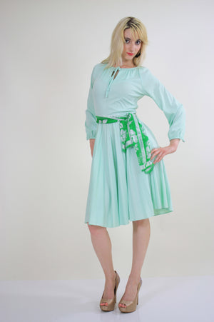Vintage 70s Boho sheer green pastel pleated dress - shabbybabe  - 4