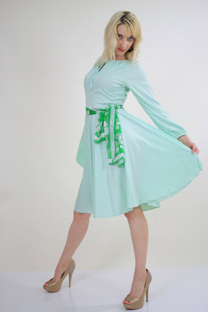Vintage 70s Boho sheer green pastel pleated dress - shabbybabe  - 5