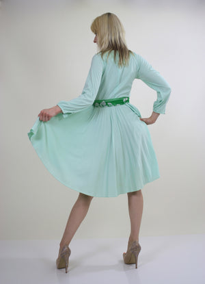 Vintage 70s Boho sheer green pastel pleated dress - shabbybabe  - 6