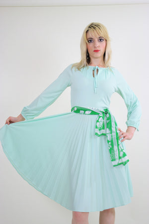 Vintage 70s Boho sheer green pastel pleated dress - shabbybabe  - 1