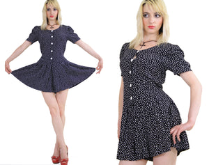 80s polka dot romper playsuit with ruffle hem pleated - shabbybabe  - 3