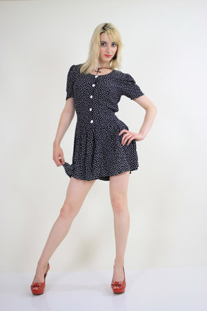 80s polka dot romper playsuit with ruffle hem pleated - shabbybabe  - 2