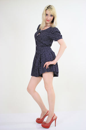 80s polka dot romper playsuit with ruffle hem pleated - shabbybabe  - 5
