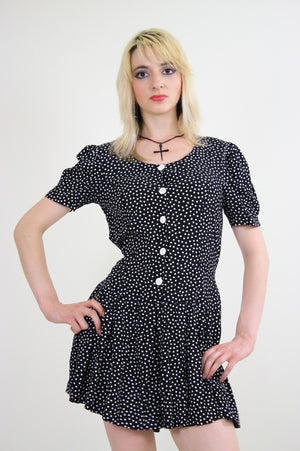 80s polka dot romper playsuit with ruffle hem pleated - shabbybabe  - 1