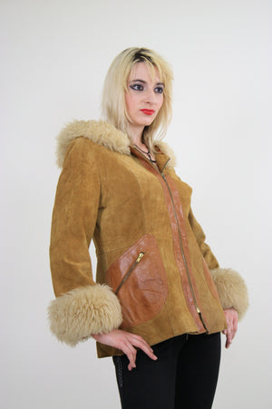 70s Mod boho hippie suede leather fur trimmed jacket - shabbybabe  - 3