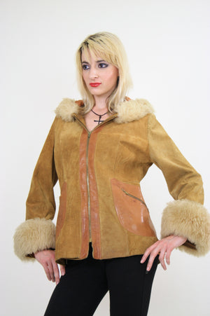 70s Mod boho hippie suede leather fur trimmed jacket - shabbybabe  - 1