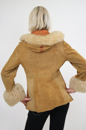 70s Mod boho hippie suede leather fur trimmed jacket - shabbybabe  - 5